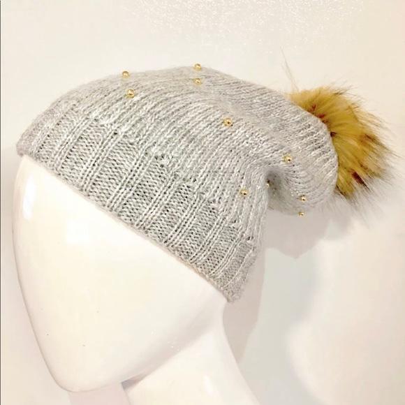 3dde1f301cc76f Accessories | Knit Beanie Gray With Gold Studsfaux Fur Pom Hat ...